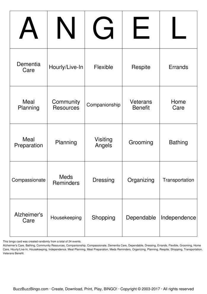 Download Free Visiting Angels Bingo Bingo Cards