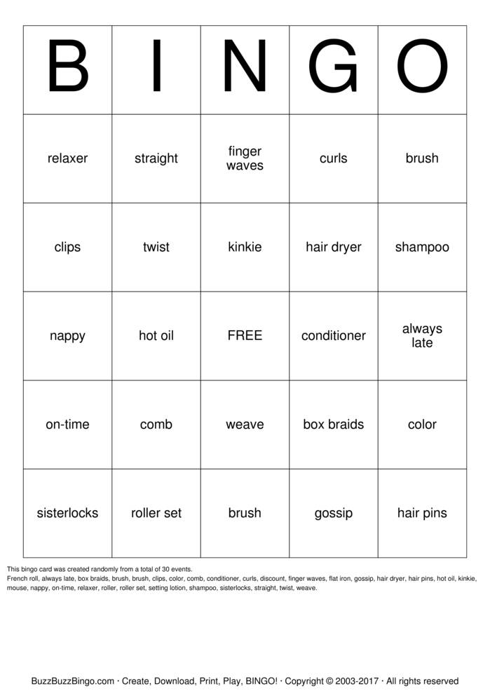 Download Free AT THE SALON Bingo Cards