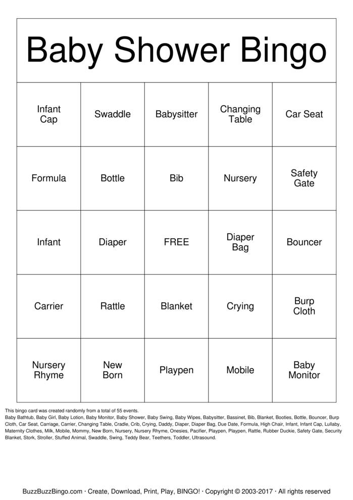 Download Free Baby Shower Bingo Bingo Cards