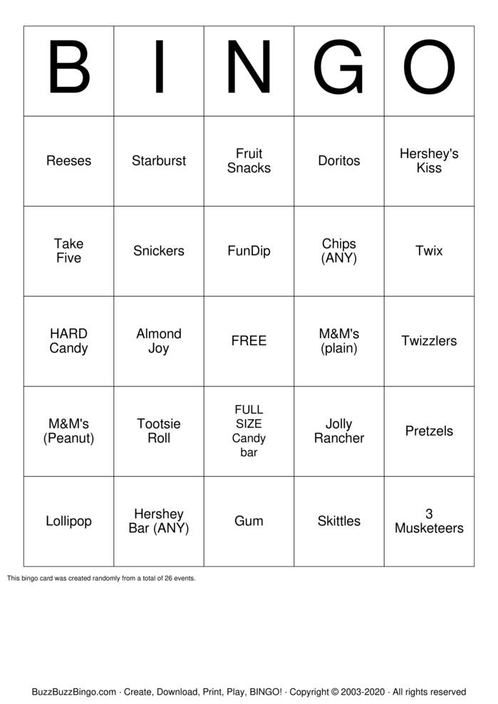 Download Free CANDY Bingo Cards
