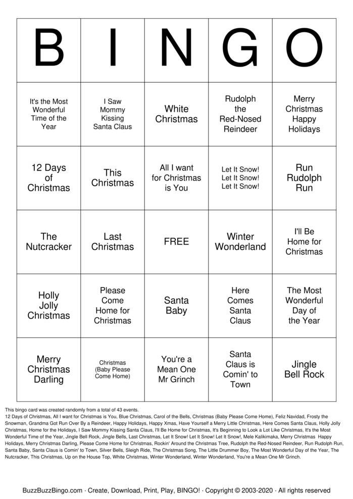 Download Free Holiday Music Bingo Cards