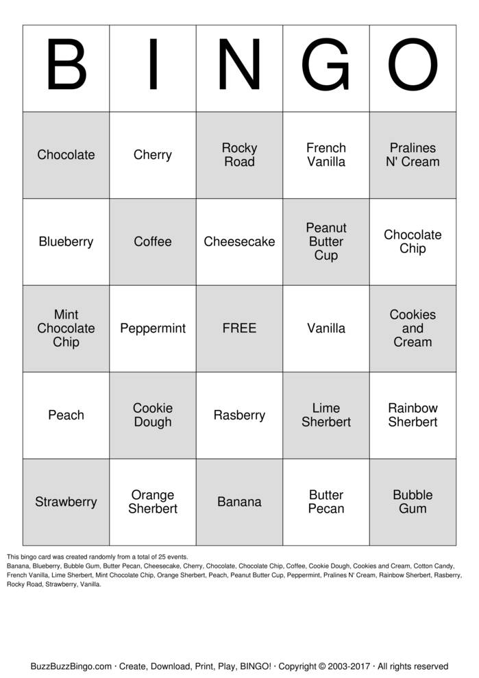 Download Ice Cream Bingo Bingo Cards