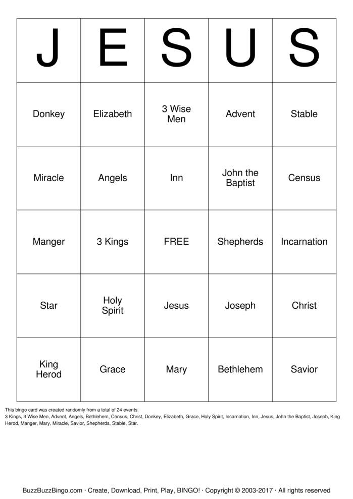Download JESUS Bingo Cards