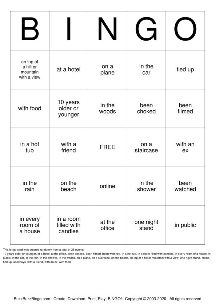 Sex Bingo Card