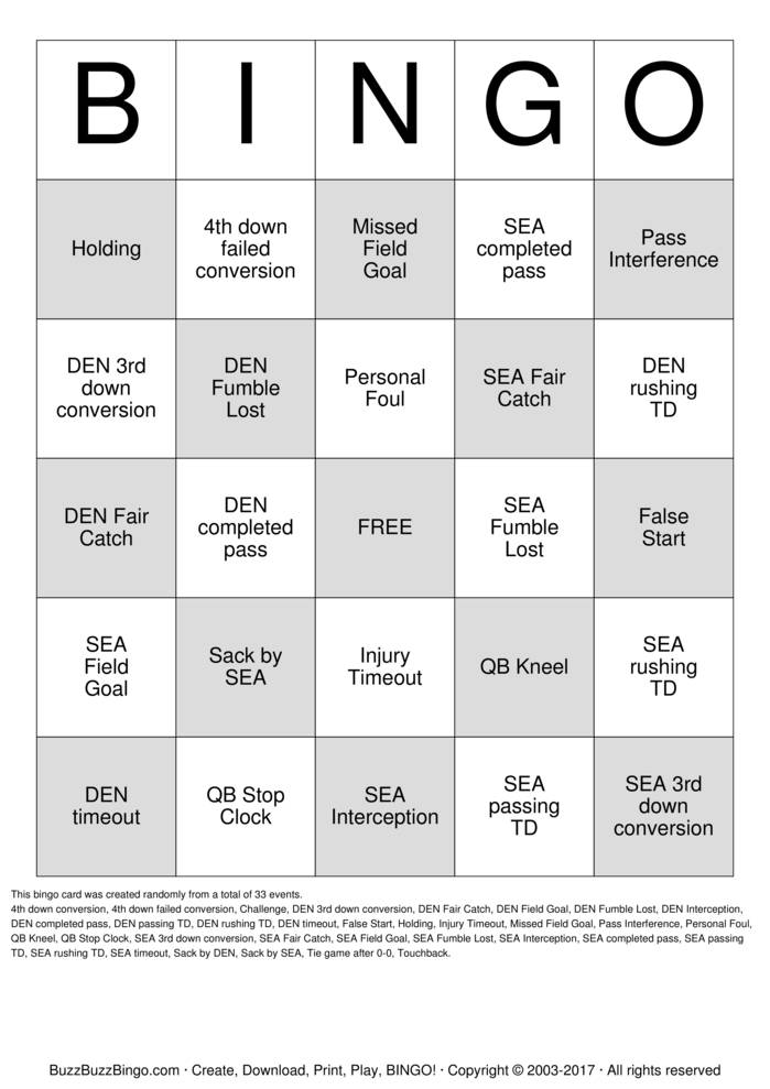 Superbowl XLVIII Bingo Card