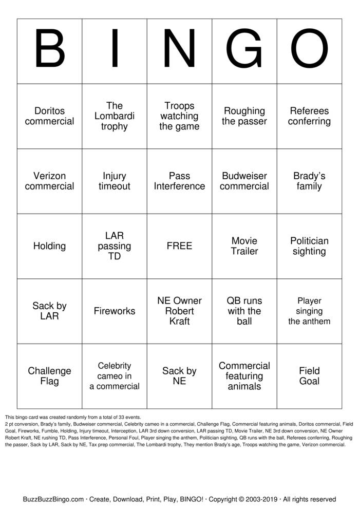 Download 2019 Superbowl NE vs LAR Bingo Cards