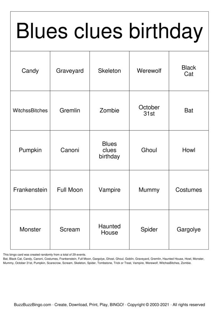 Download Free Blues clues host history Bingo Cards