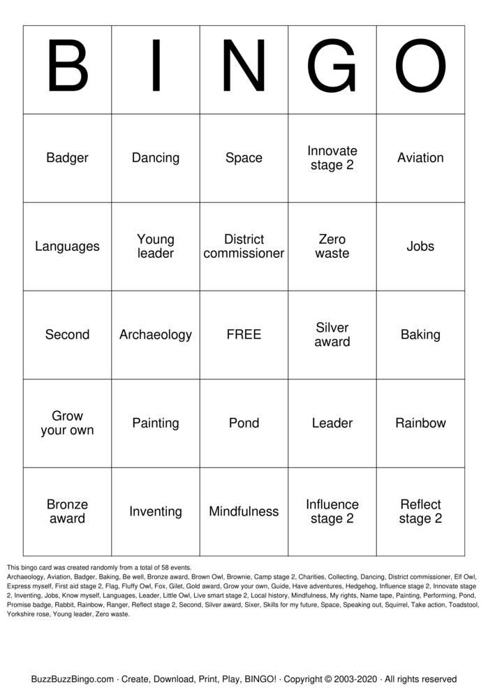 Download Free Brownie Bingo! Bingo Cards