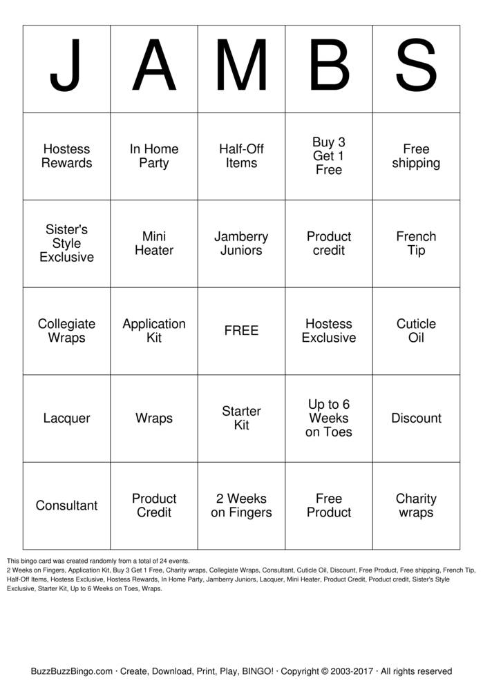 Jamberry Bingo Card