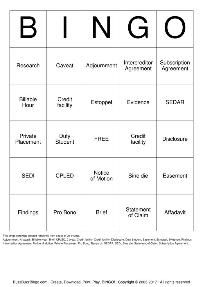 Download Free Law Firm Bingo Cards
