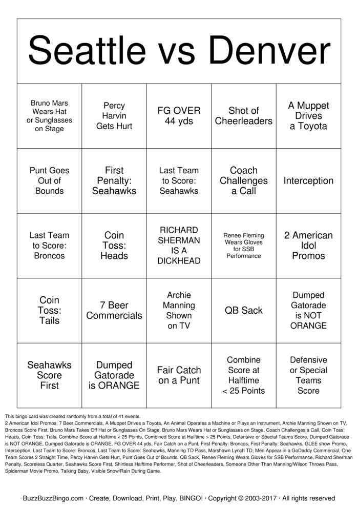 Download Free RICHARD SHERMAN IS A DICKHEAD Bingo Cards