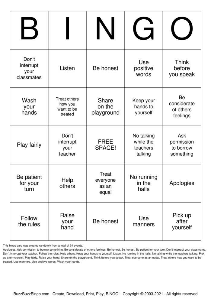 Download Free Respect Bingo Cards