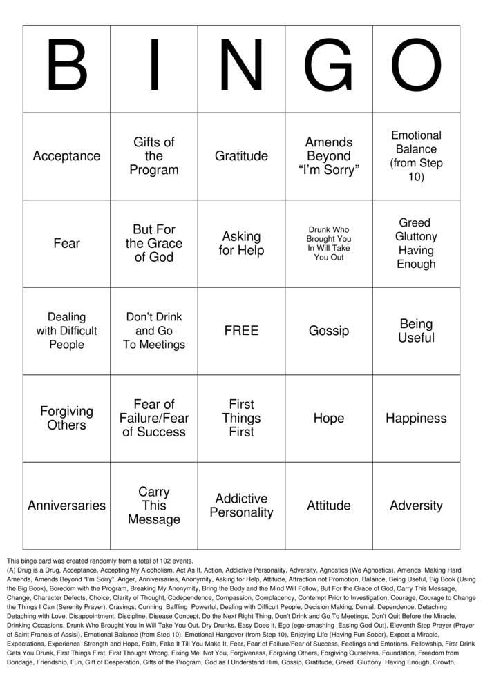 Download Free Sobriety Bingo Cards