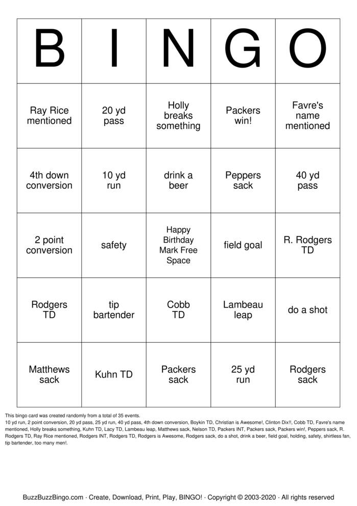 Download Free packers  Bingo Cards
