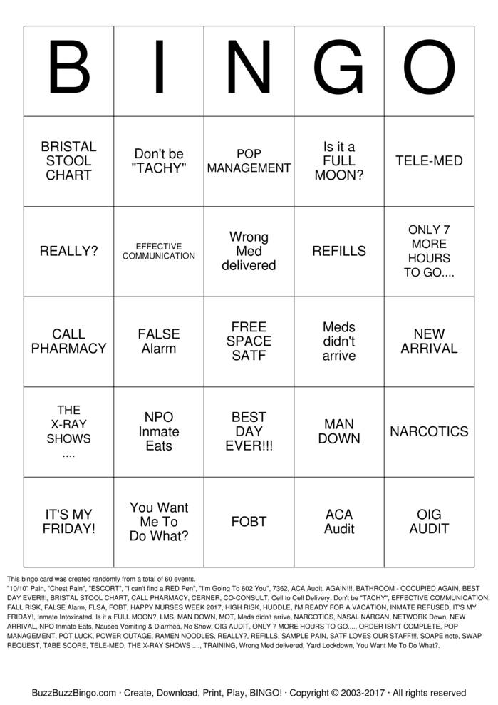 Download Free 2017 SATF NURSE BINGO Bingo Cards