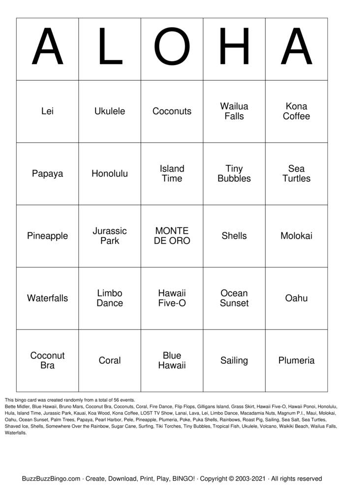 Download Free ALOHOA Bingo Cards