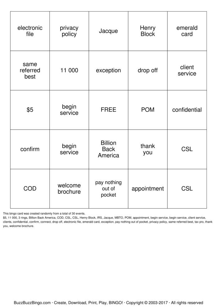 Download Free BLOCK Bingo Cards