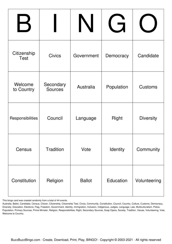 Download Free Civics and Government Bingo Cards