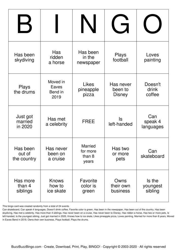 Download Free Eaves Bend Bingo! Bingo Cards