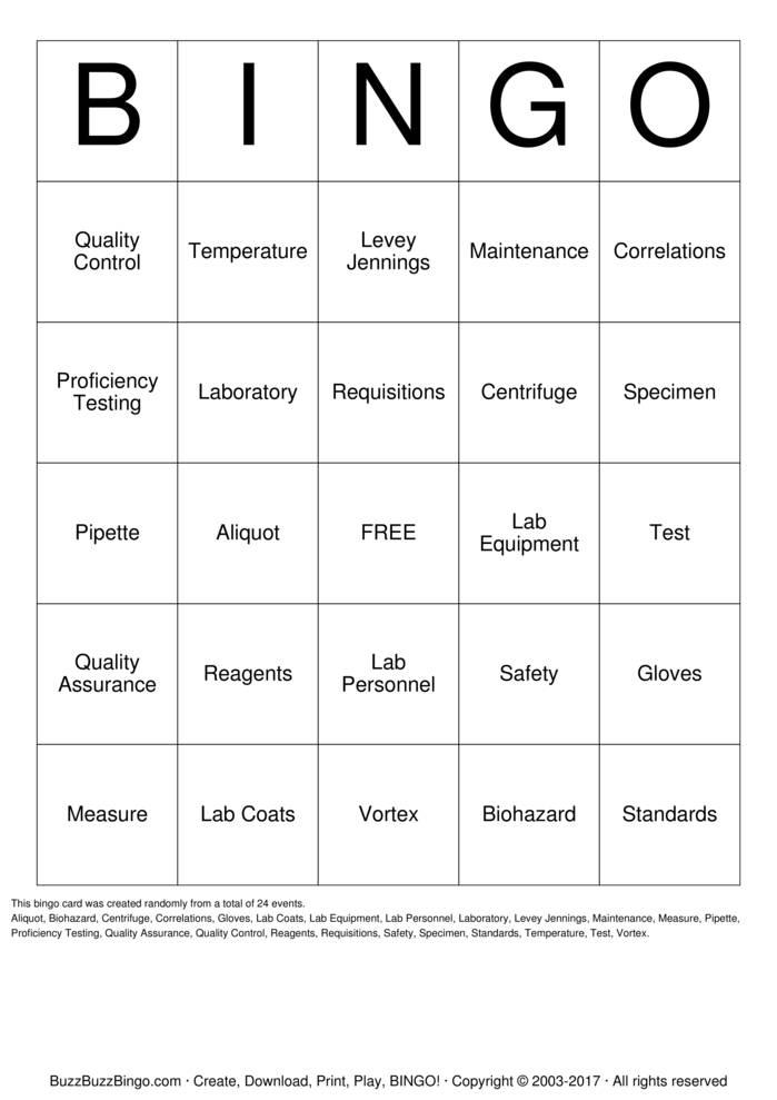 Download Free Lab Week 2016 Bingo Cards