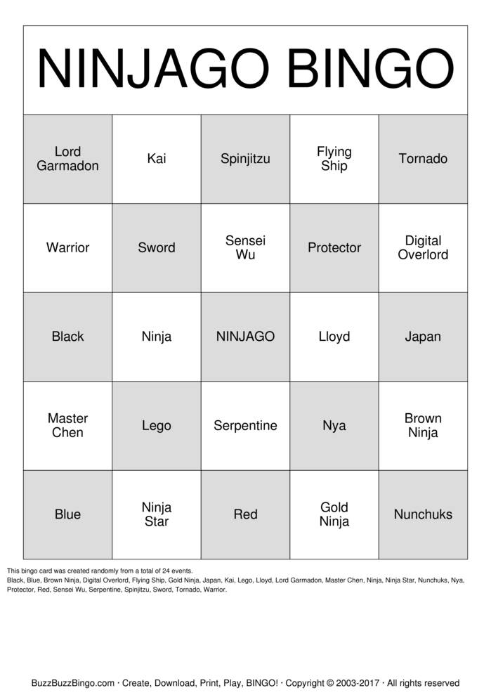 Download Free NINJA Bingo Cards