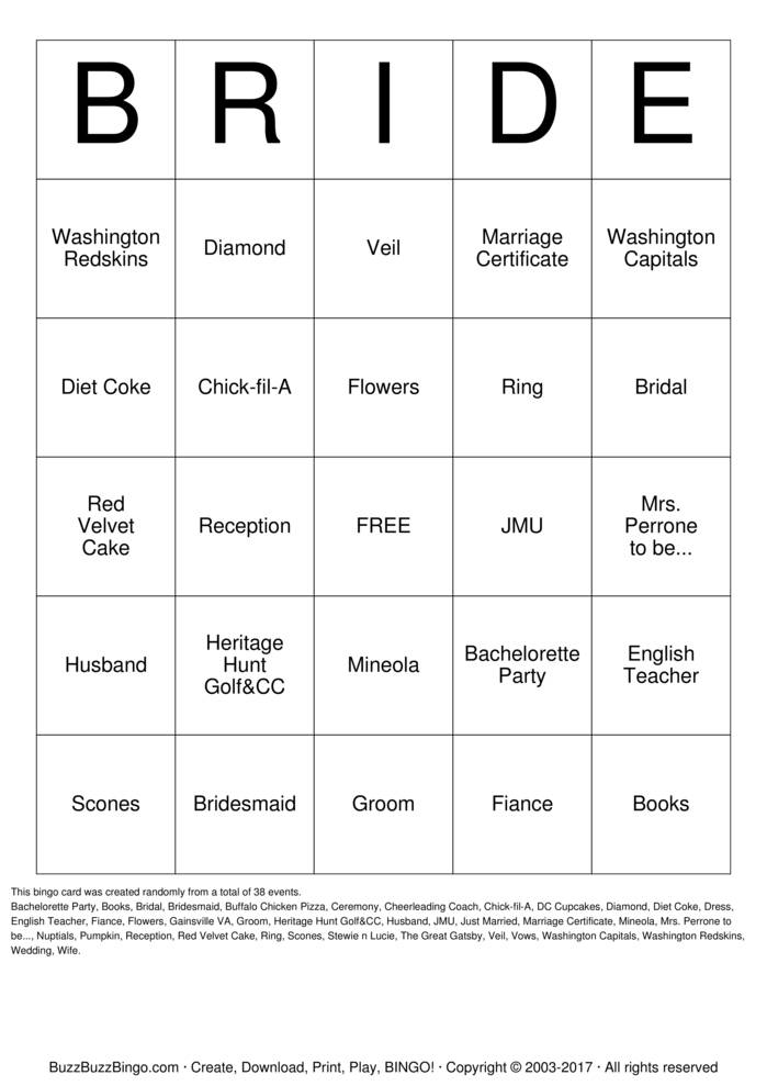 Download Sara's Bridal Shower Bingo Bingo Cards