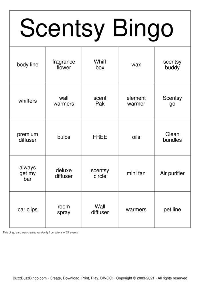 Download Free Scentsy Bingo Cards