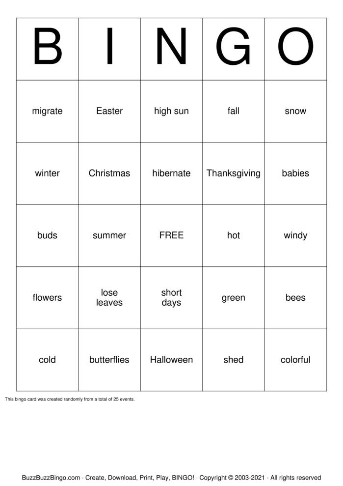 Download Free Seasons,Months and days Bingo Cards