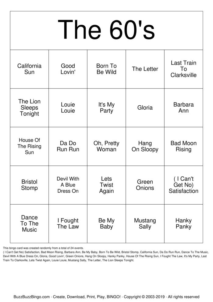 Download Free The 60's Bingo Cards