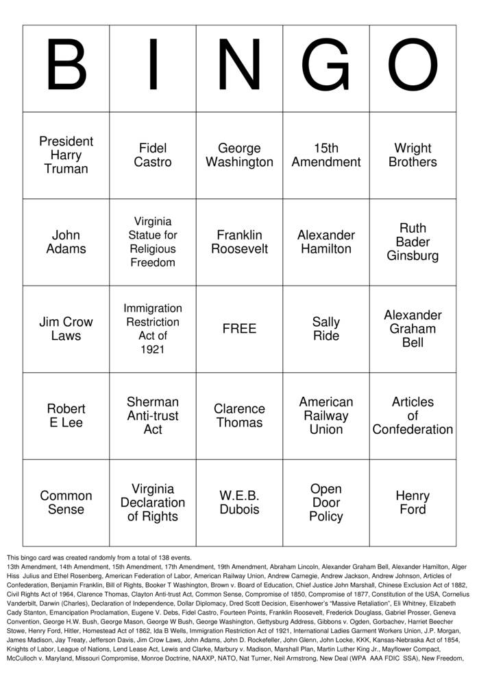 Download Free US HISTORY REVIEW Bingo Cards