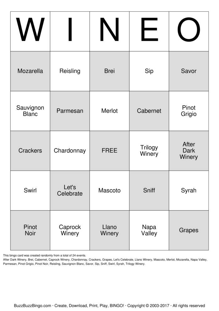 Download Free WINEO Bingo Cards