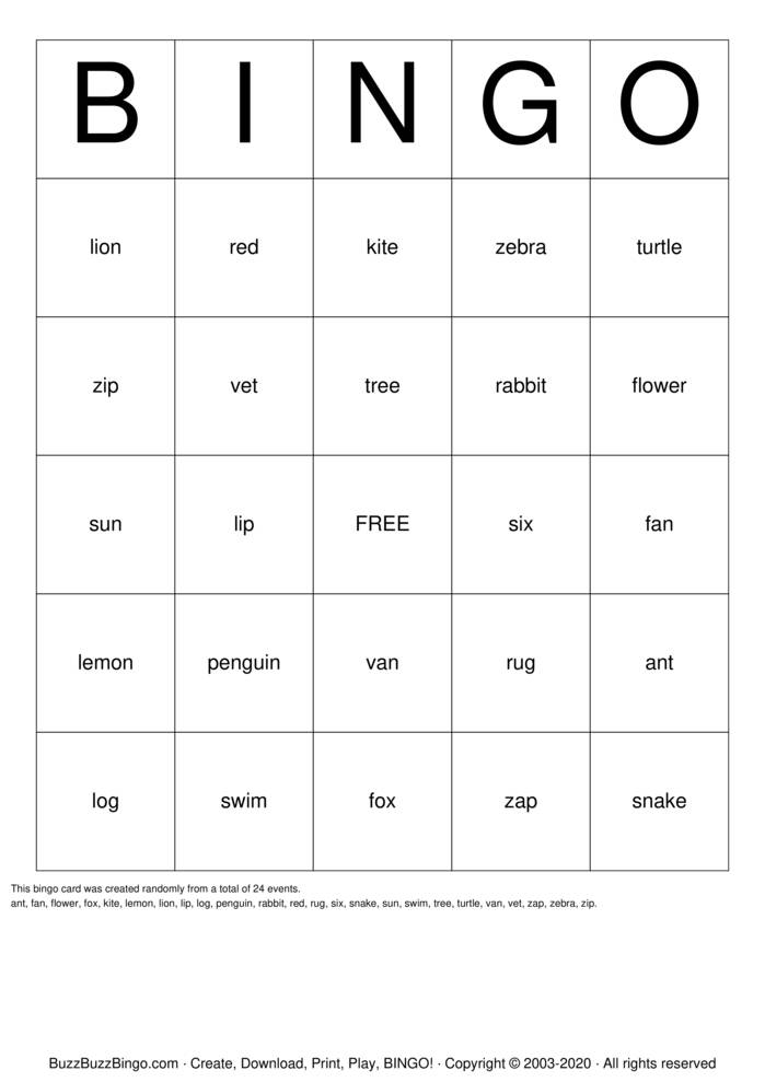 Download Free unit 6 phonics Bingo Cards