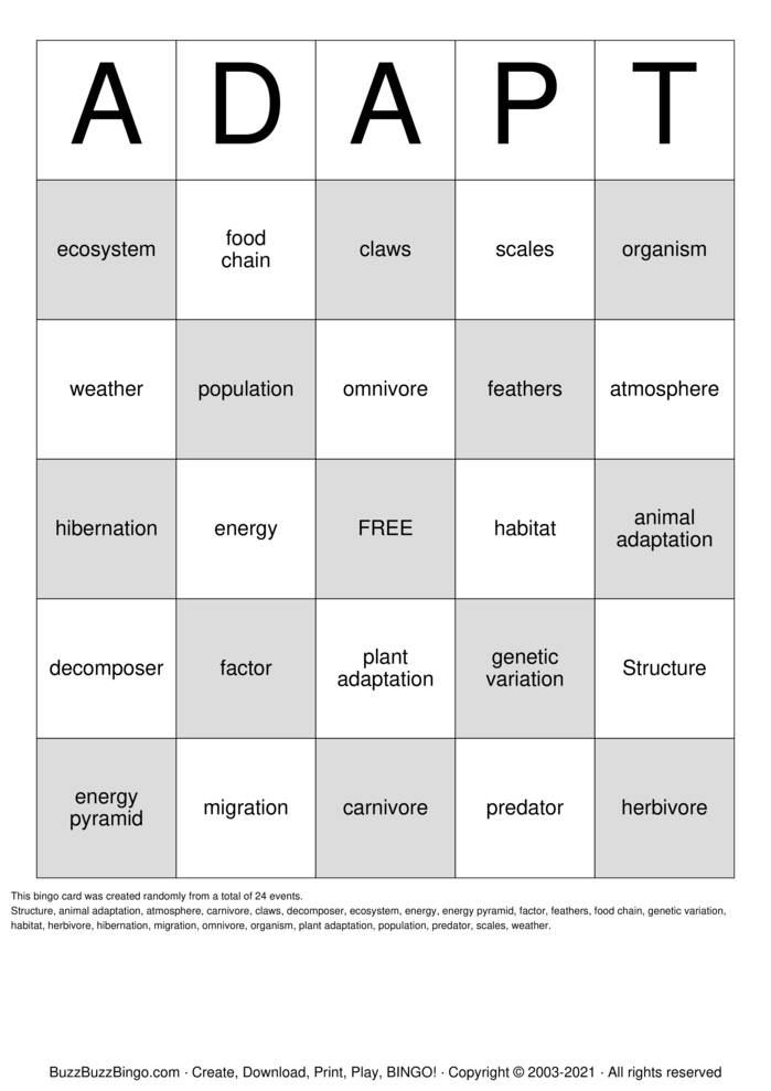 Download Free ADAPT Bingo Cards