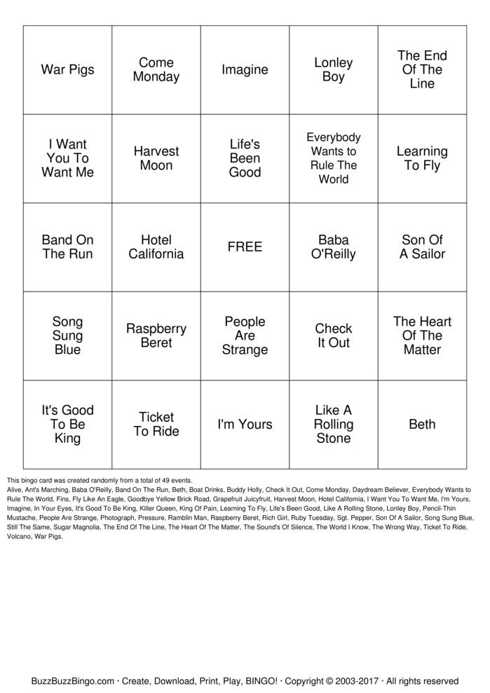 Download BUFFET DAY BINGO Bingo Cards