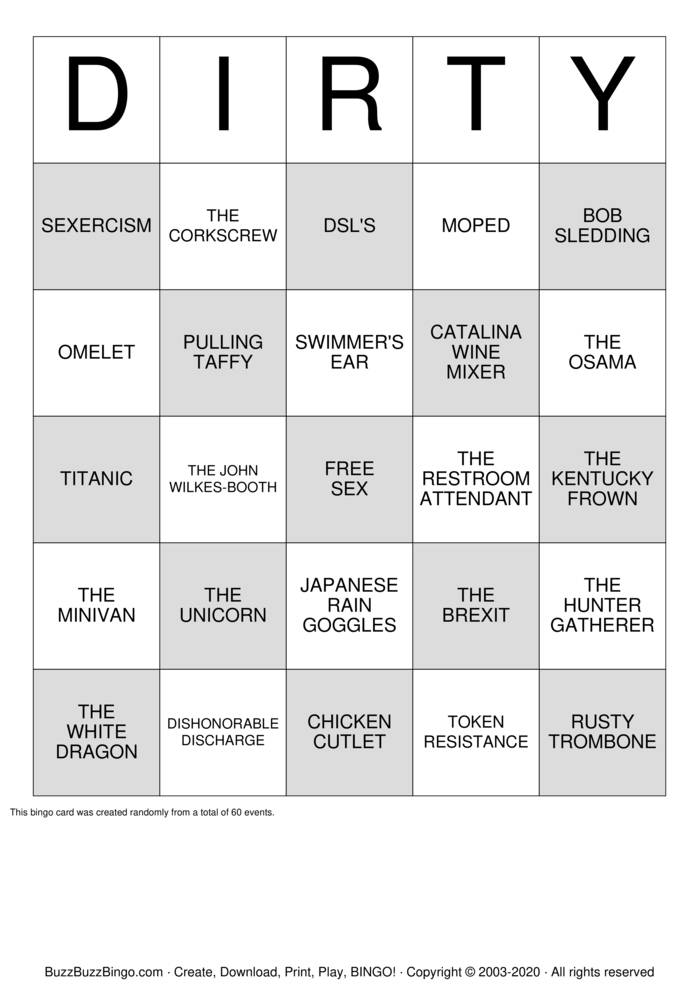 Download Free DIRTY BINGO Bingo Cards