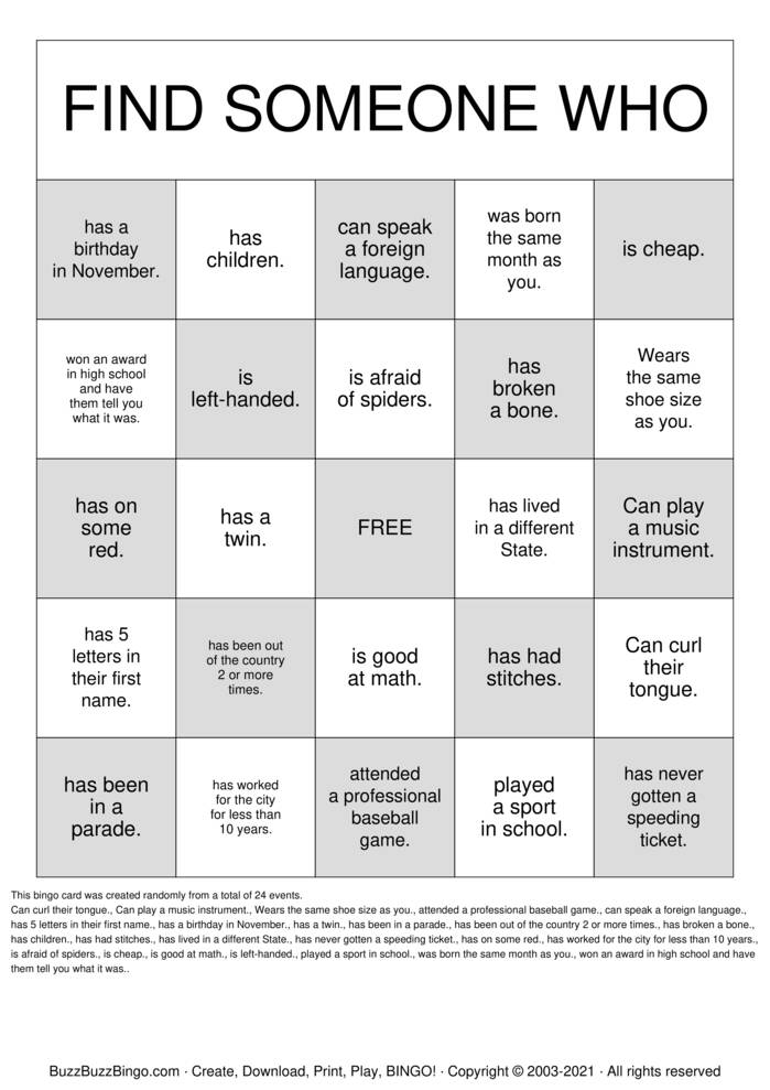 Download Free Find Someone Who  Bingo Cards