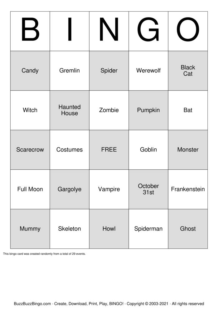 Download Free GHOST Bingo Cards
