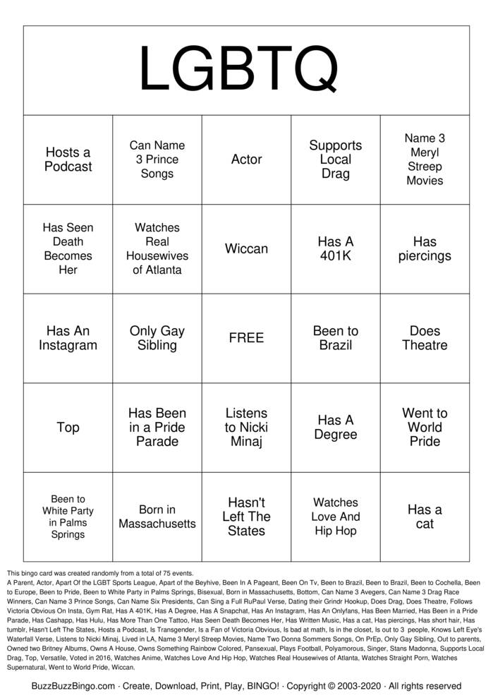 Download Free LGBTQ   bingo Bingo Cards