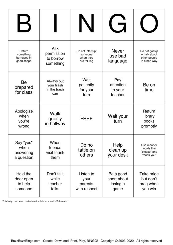Download Free Manners Bingo Cards