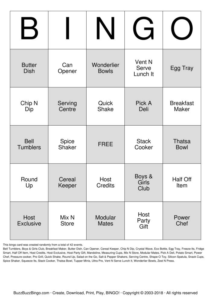 Download Free Tupperware Bingo Cards