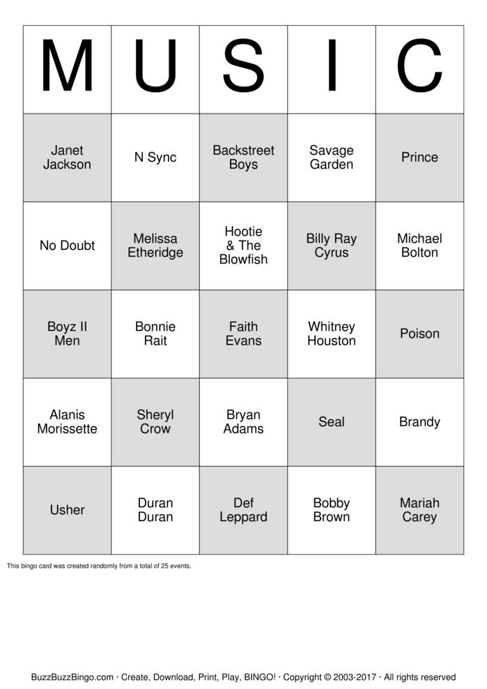Download Free 90's Artist  Bingo Cards