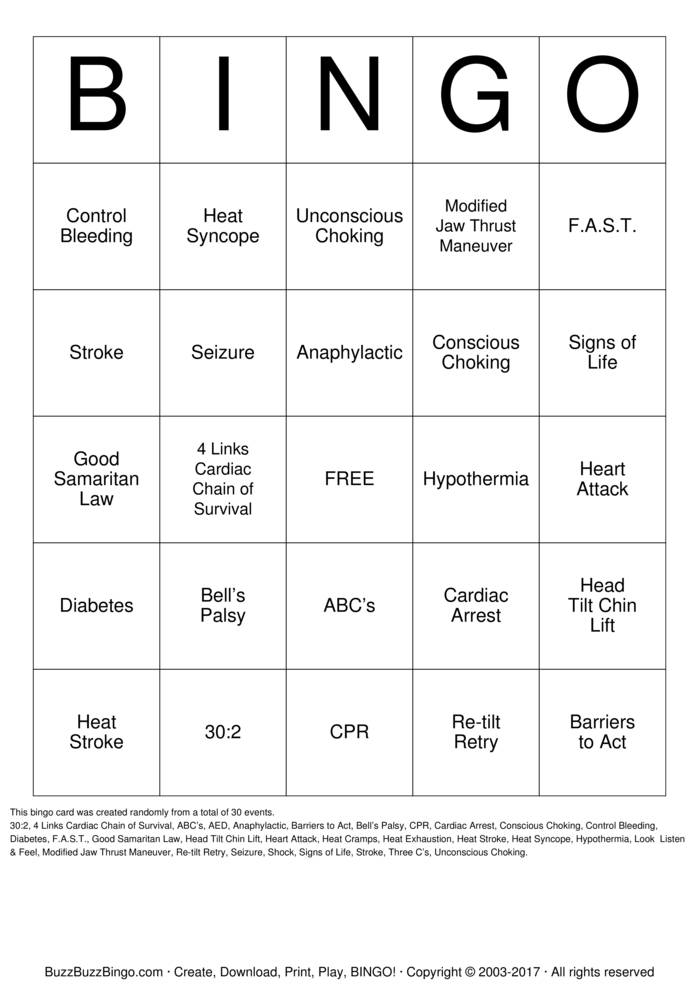 Download Free CPR/First Aid  Bingo Cards