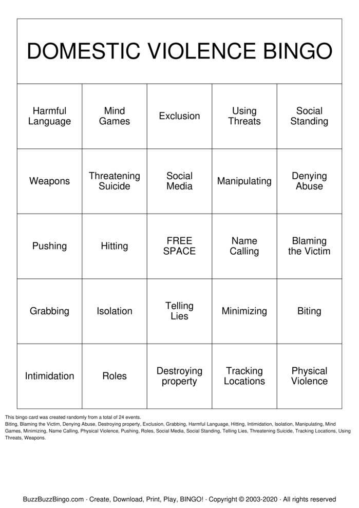 Download Free DOMESTIC VIOLENCE Bingo Cards