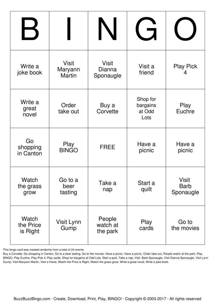 Download Free EUCHRE BINGO Bingo Cards