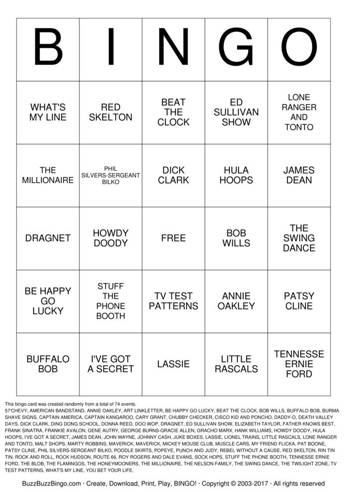 Download Free FABULOUS 50s Bingo Cards