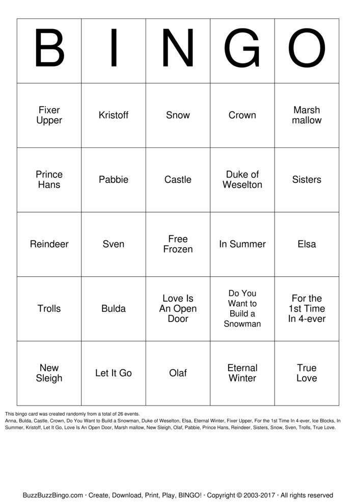 Download Free Frozen Bingo Cards