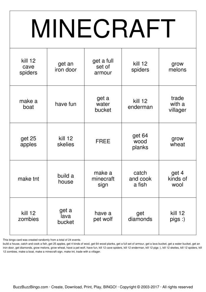 Download Free MineCraft Bingo Cards