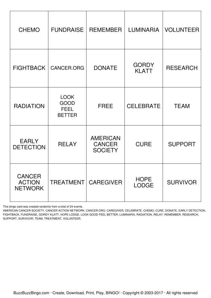 Download Free RELAY Bingo Bingo Cards