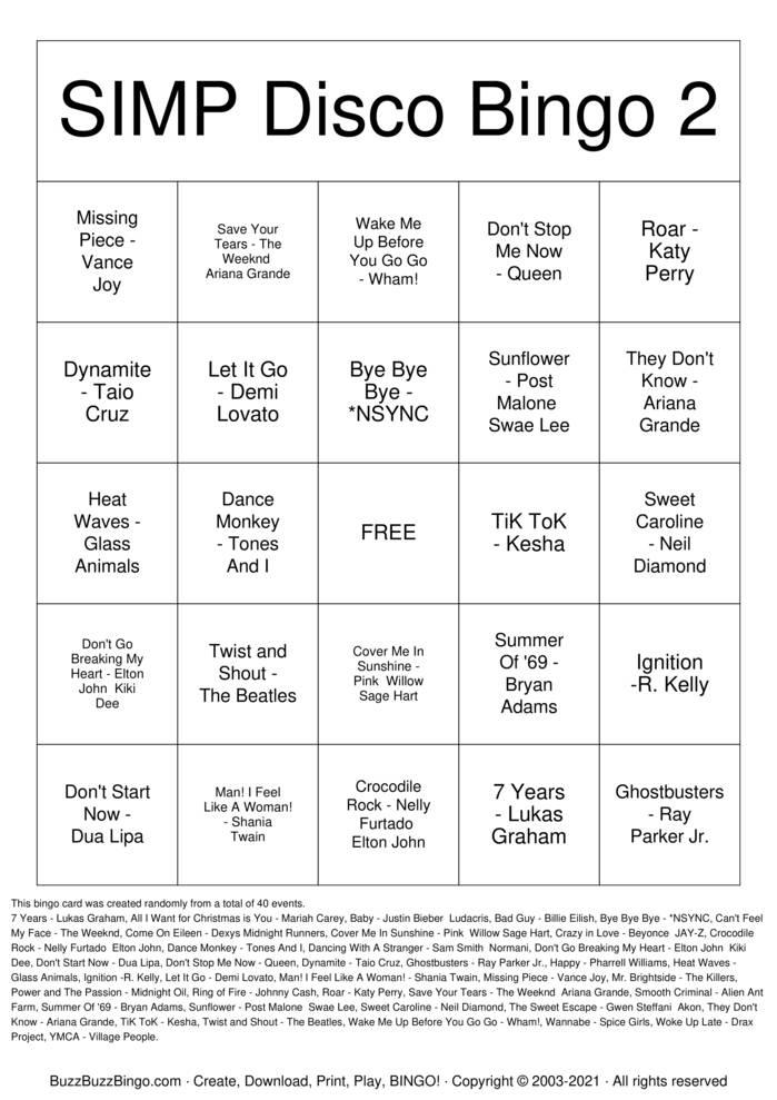 Download Free SIMP Disco Bingo 2 Bingo Cards