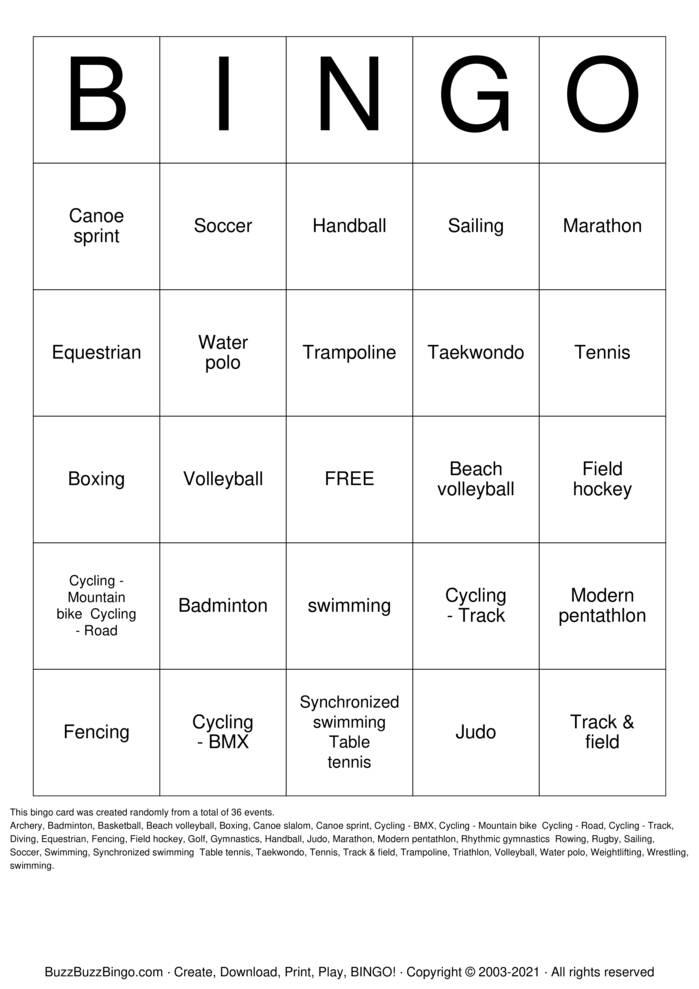 Download Free Summer Olympics Bingo Cards